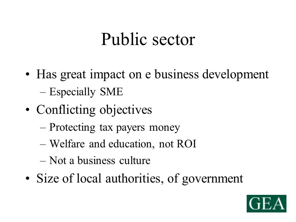 Public sector Has great impact on e business development –Especially SME Conflicting objectives –Protecting tax payers money –Welfare and education, not ROI –Not a business culture Size of local authorities, of government