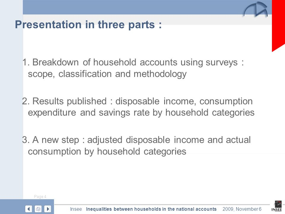 Page 4 Inequalities between households in the national accountsInsee2009, November 6 Presentation in three parts : 1.