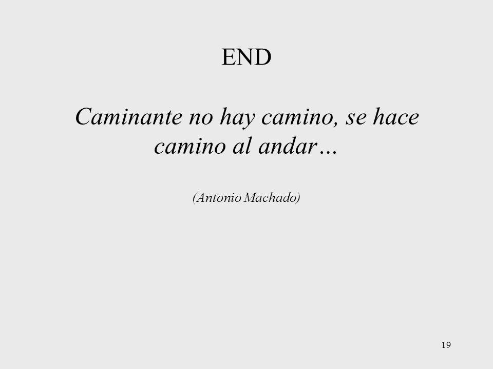 19 END Caminante no hay camino, se hace camino al andar… (Antonio Machado)