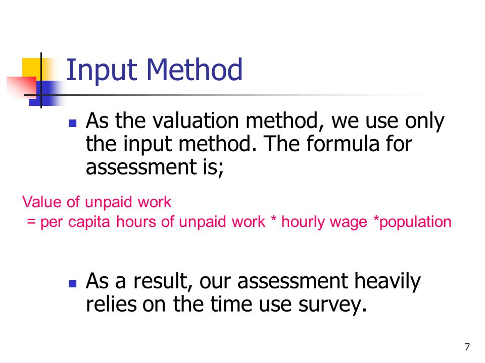 7 Input Method As the valuation method, we use only the input method.