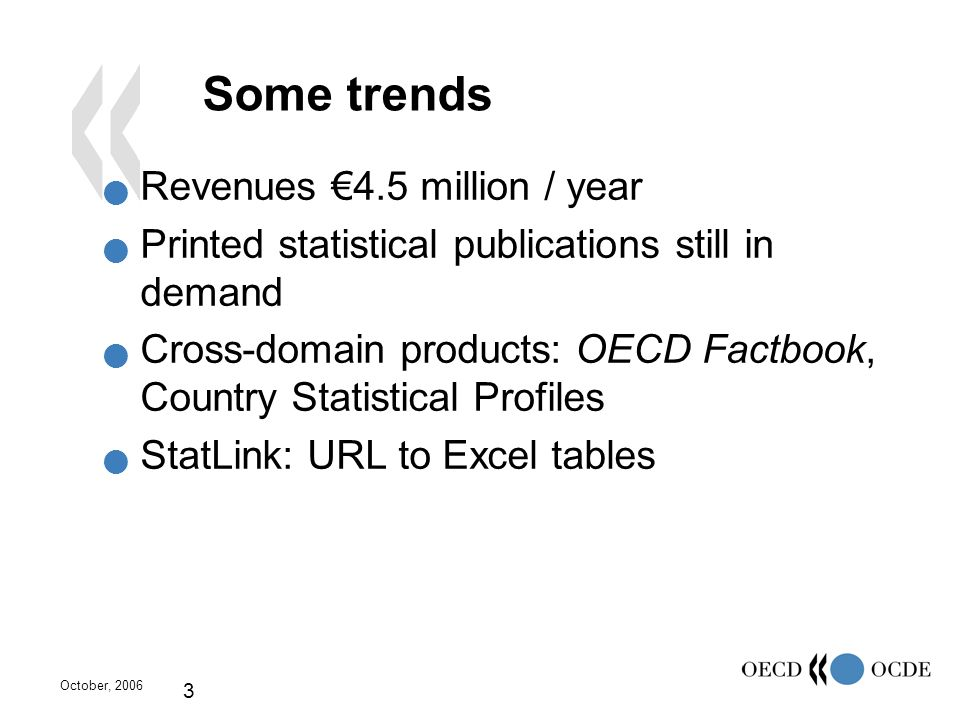 October, 2006 3 Some trends Revenues 4.5 million / year Printed statistical publications still in demand Cross-domain products: OECD Factbook, Country