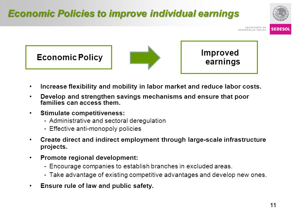 Título presentación 11 Economic Policies to improve individual earnings Increase flexibility and mobility in labor market and reduce labor costs. Deve