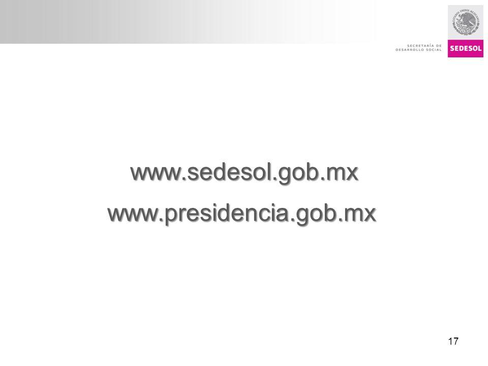Título presentación www.sedesol.gob.mx www.presidencia.gob.mx 17