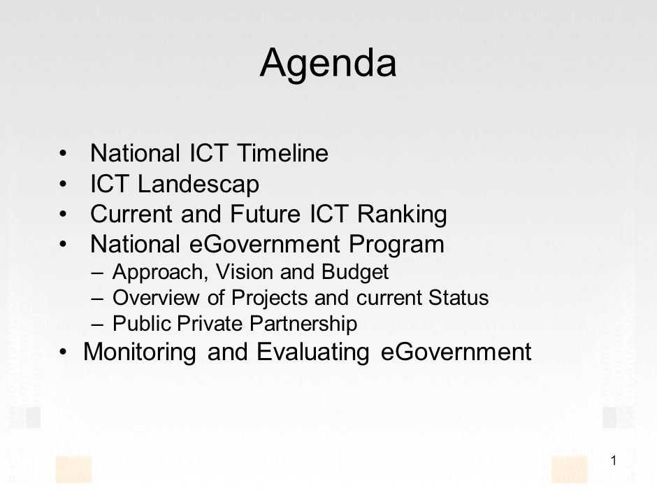 11 NATIONAL E-GOVERNMENT TECHNICAL ARCHITECTURE Components to be implemented and managed centrally User interaction toolkit User security gateway Payments gateway Integration bus E-government portal Agency Web sites and portals Corporate systems (e.g., ERP) Front-end layer Middle layer Agency back-end system SADAD Back-end layer Intranet portal PKI - Certificate Service Providers E-services integration infrastructure MoIMoCI E-government network