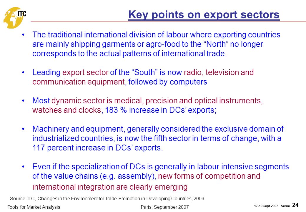 Tools for Market Analysis 17-19 Sept 2007 Aeroe 24 Paris, September 2007 Key points on export sectors The traditional international division of labour where exporting countries are mainly shipping garments or agro-food to the North no longer corresponds to the actual patterns of international trade.