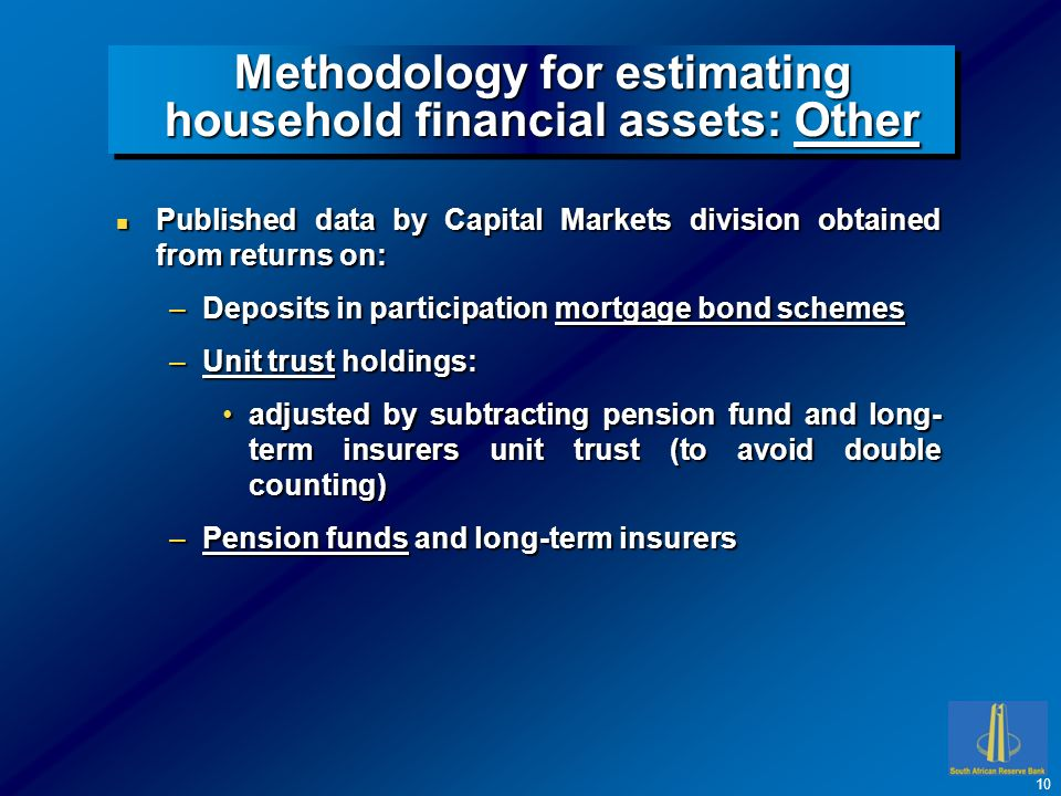 Methodology for estimating household financial assets: Other n Published data by Capital Markets division obtained from returns on: –Deposits in participation mortgage bond schemes –Unit trust holdings: adjusted by subtracting pension fund and long- term insurers unit trust (to avoid double counting)adjusted by subtracting pension fund and long- term insurers unit trust (to avoid double counting) –Pension funds and long-term insurers 10