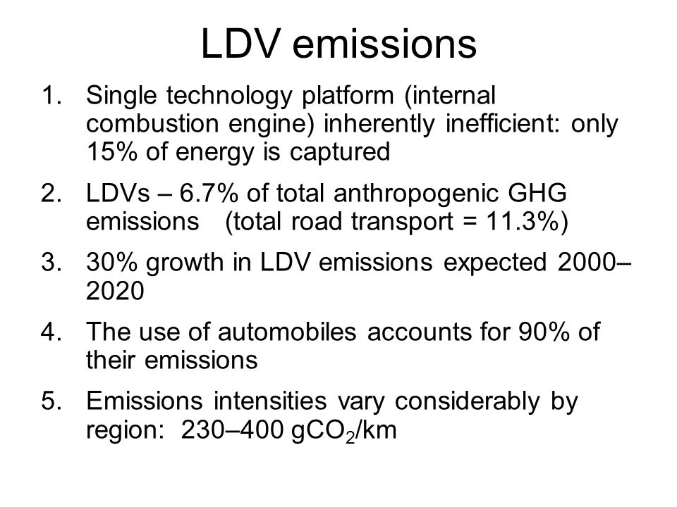 LDV emissions 1.Single technology platform (internal combustion engine) inherently inefficient: only 15% of energy is captured 2.LDVs – 6.7% of total anthropogenic GHG emissions (total road transport = 11.3%) 3.30% growth in LDV emissions expected 2000– 2020 4.The use of automobiles accounts for 90% of their emissions 5.Emissions intensities vary considerably by region: 230–400 gCO 2 /km