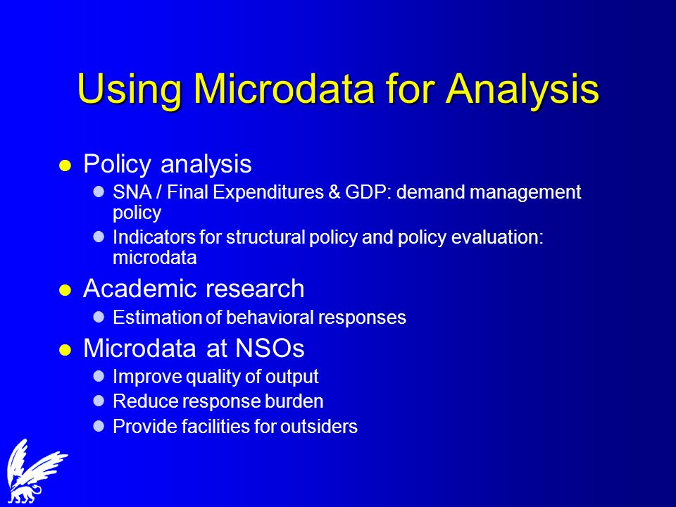 Using Microdata for Analysis l Policy analysis lSNA / Final Expenditures & GDP: demand management policy lIndicators for structural policy and policy evaluation: microdata l Academic research lEstimation of behavioral responses l Microdata at NSOs lImprove quality of output lReduce response burden lProvide facilities for outsiders