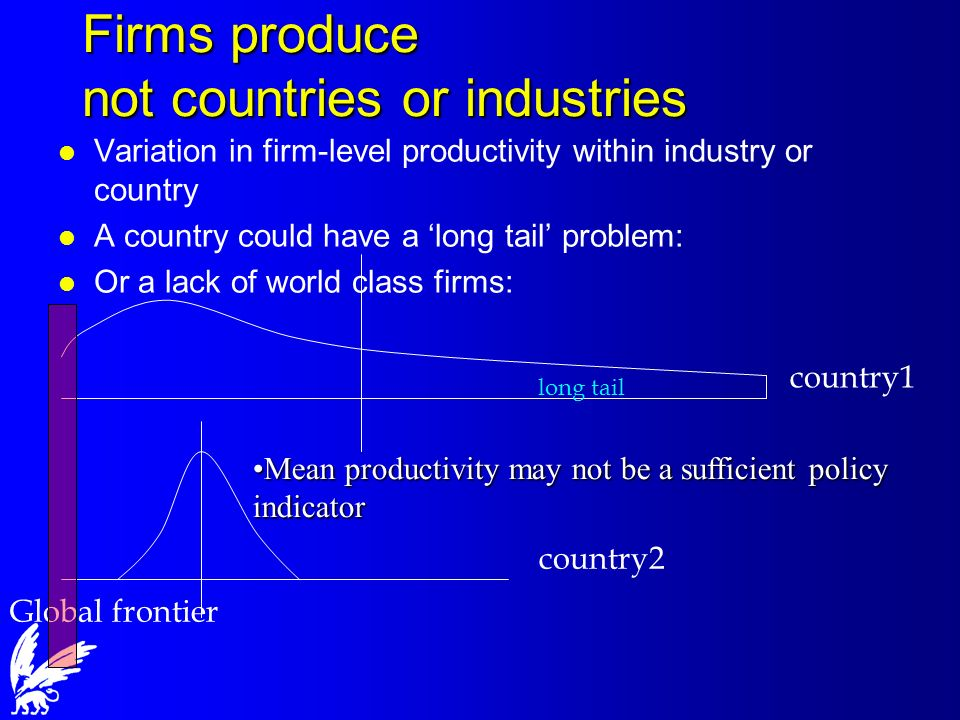 Firms produce not countries or industries l Variation in firm-level productivity within industry or country l A country could have a long tail problem: l Or a lack of world class firms: Global frontier country2 country1 long tail Mean productivity may not be a sufficient policy indicatorMean productivity may not be a sufficient policy indicator