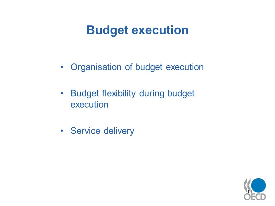 11 Budget execution Organisation of budget execution Budget flexibility during budget execution Service delivery
