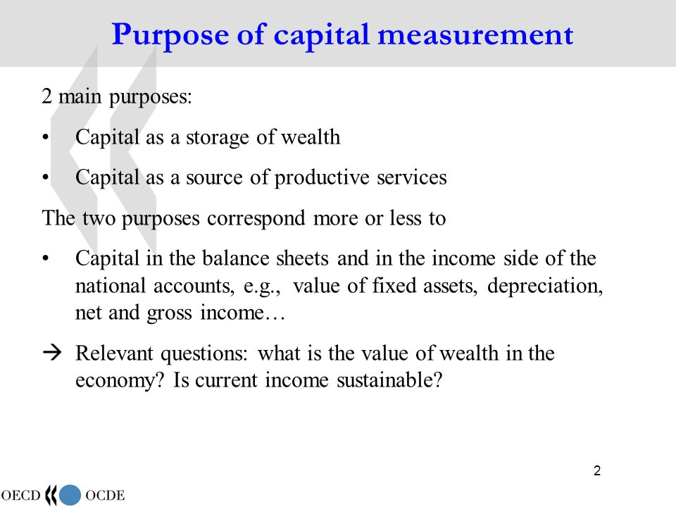 43 Productive stocks and capital services (1) Net stock and depreciation have to do with the value side of capital and income Productive stocks and capital services have to do with the quantity side of capital and its role in production, i.e.