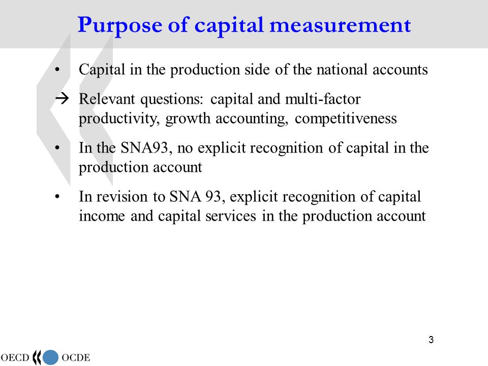 44 Productive stocks and capital services (3) Productive stock of asset type i at the beginning of period t+1, and in constant prices of period t: {h s } s=0,1,2,… is the combined age-efficiency/retirement profile By way of the numerical example used earlier, the productive stock is computed as follows: