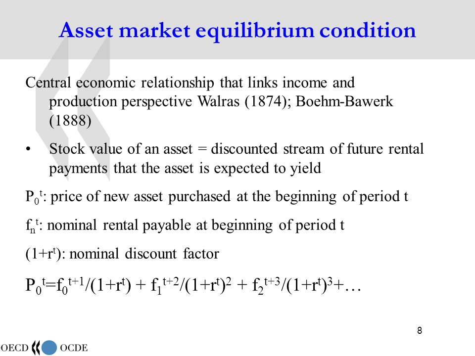 9 Asset market equilibrium condition (2) In a functioning market, purchase price of an asset equals the discounted stream of expected rentals Purchasers will buy asset of flow of rental implies at least a rate of return that is as large as r t r t can also be considered the opportunity cost of investing in the asset = the return that the market would pay for investment of similar risk Central equation for integrated system of stocks and flows of capital