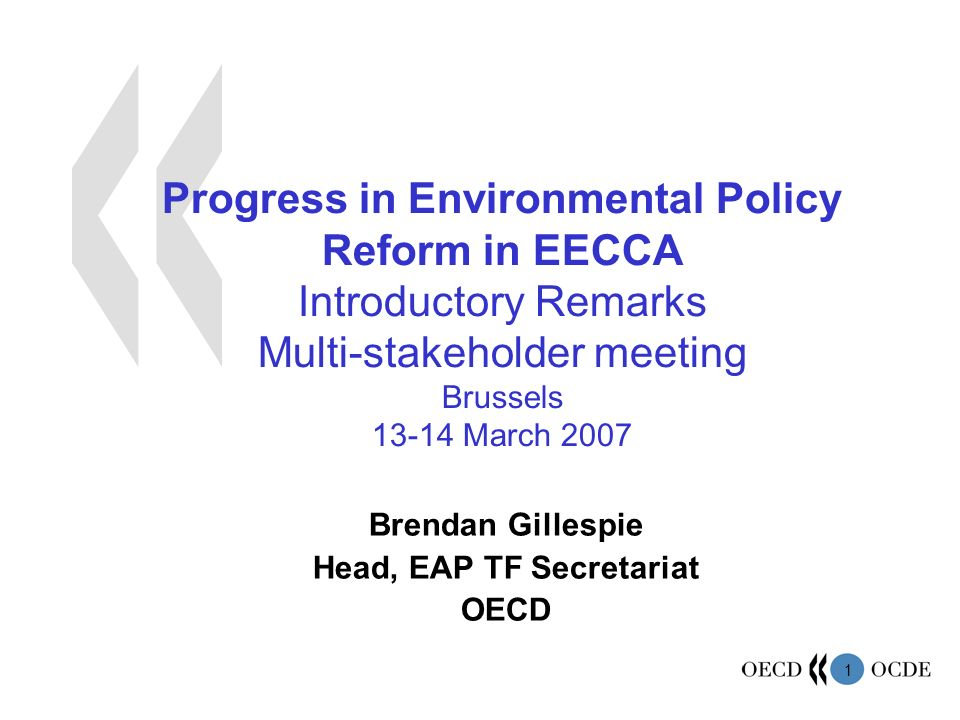 1 Progress in Environmental Policy Reform in EECCA Introductory Remarks Multi-stakeholder meeting Brussels March 2007 Brendan Gillespie Head, EAP TF Secretariat OECD