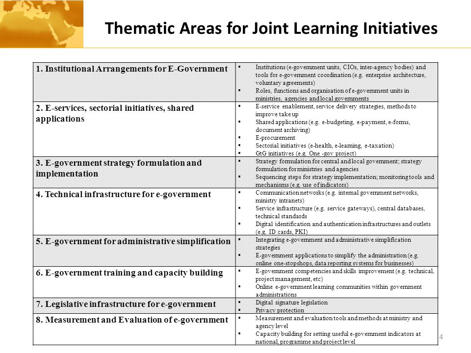 Thematic Areas for Joint Learning Initiatives 4 1.