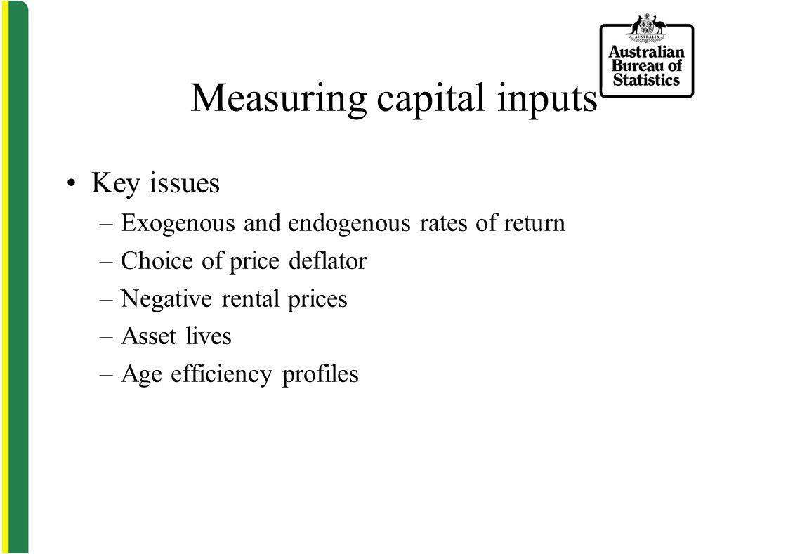 Measuring capital inputs Key issues –Exogenous and endogenous rates of return –Choice of price deflator –Negative rental prices –Asset lives –Age efficiency profiles