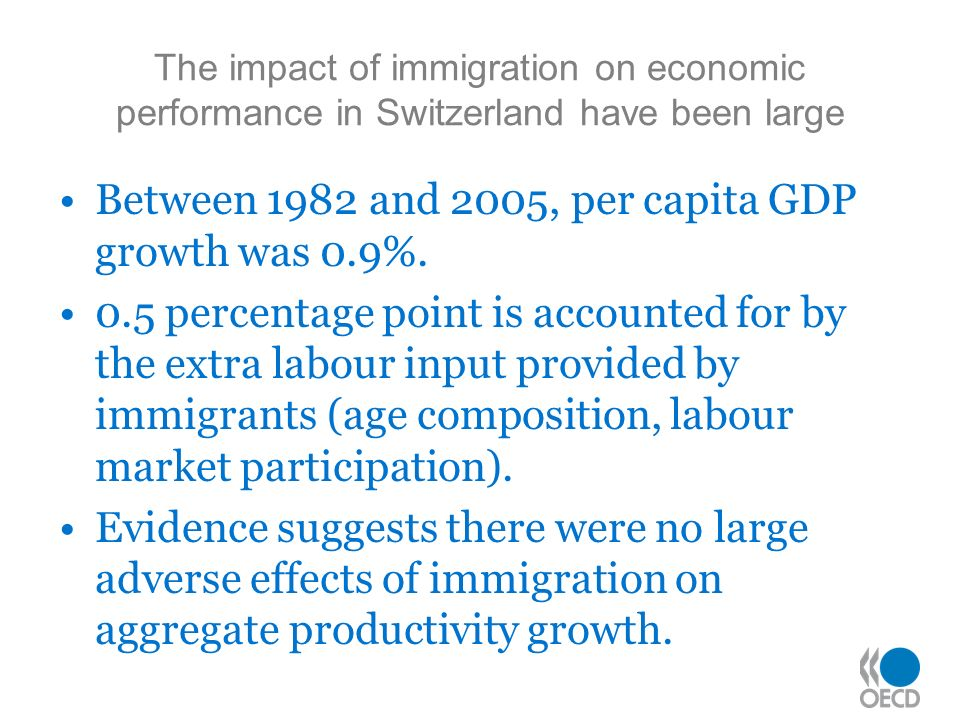 The impact of immigration on economic performance in Switzerland have been large Between 1982 and 2005, per capita GDP growth was 0.9%.
