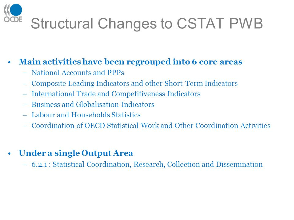 Structural Changes to CSTAT PWB Main activities have been regrouped into 6 core areas –National Accounts and PPPs –Composite Leading Indicators and other Short-Term Indicators –International Trade and Competitiveness Indicators –Business and Globalisation Indicators –Labour and Households Statistics –Coordination of OECD Statistical Work and Other Coordination Activities Under a single Output Area –6.2.1 : Statistical Coordination, Research, Collection and Dissemination