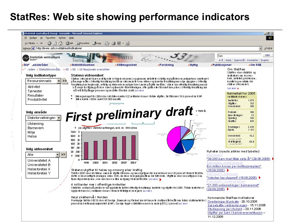 StatRes: Web site showing performance indicators First preliminary draft