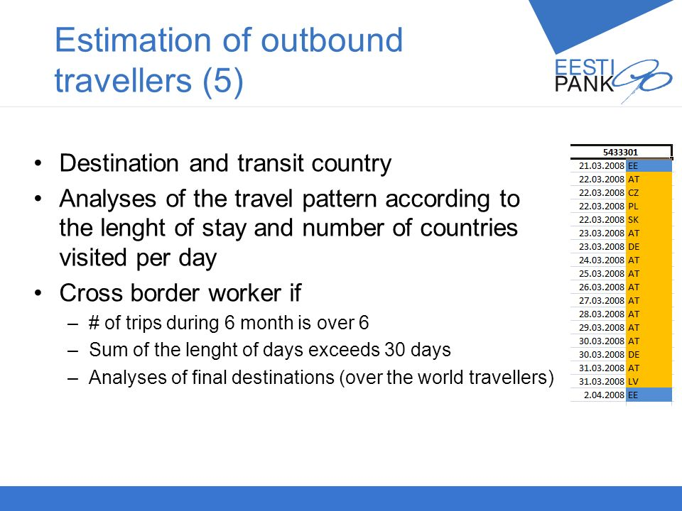 Autori nimiPresentatsiooni teema 24 Destination and transit country Analyses of the travel pattern according to the lenght of stay and number of countries visited per day Cross border worker if –# of trips during 6 month is over 6 –Sum of the lenght of days exceeds 30 days –Analyses of final destinations (over the world travellers) Estimation of outbound travellers (5)