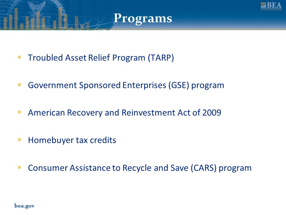 bea.gov Programs Troubled Asset Relief Program (TARP) Government Sponsored Enterprises (GSE) program American Recovery and Reinvestment Act of 2009 Ho