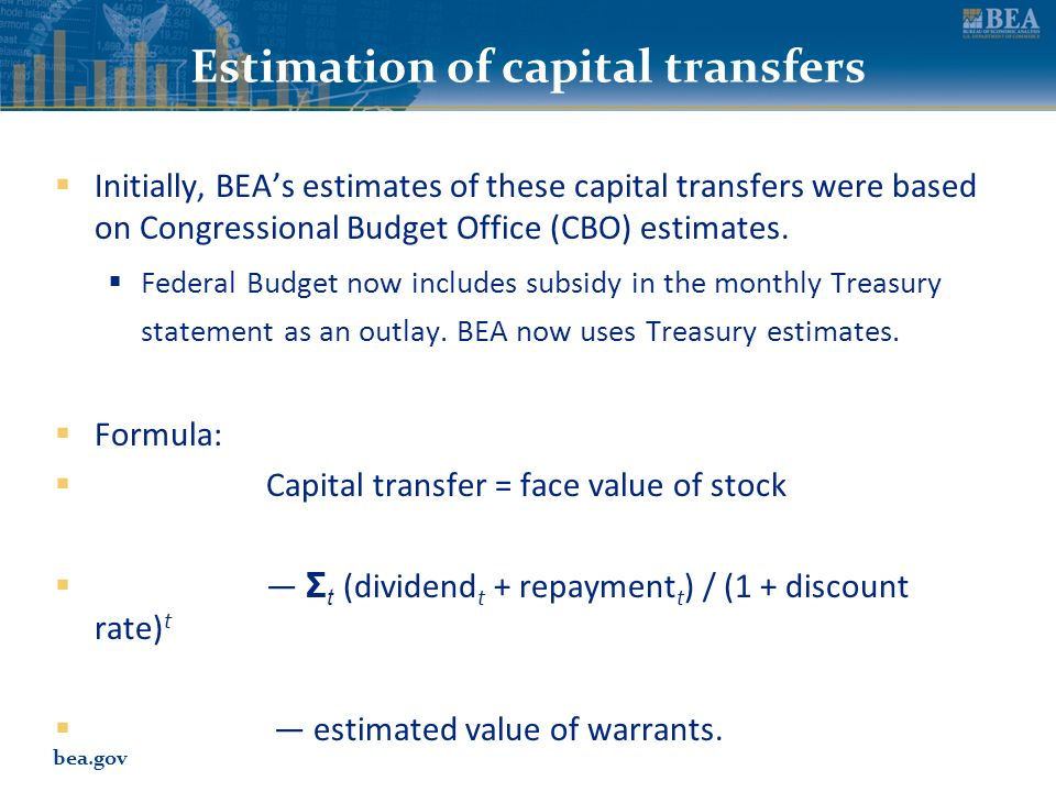 bea.gov Estimation of capital transfers Initially, BEAs estimates of these capital transfers were based on Congressional Budget Office (CBO) estimates