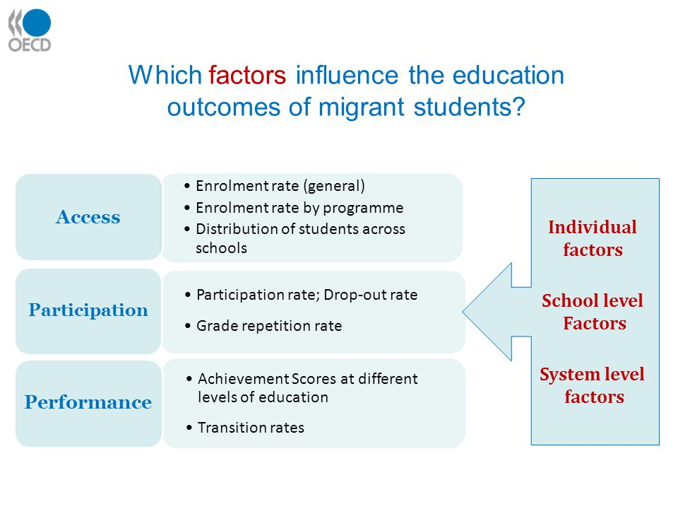 Enrolment rate (general) Enrolment rate by programme Distribution of students across schools Access Participation rate; Drop-out rate Grade repetition rate Participation Achievement Scores at different levels of education Transition rates Performance Which factors influence the education outcomes of migrant students.