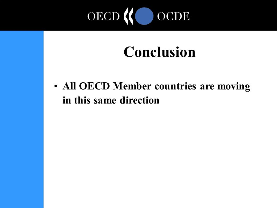 All OECD Member countries are moving in this same direction Conclusion