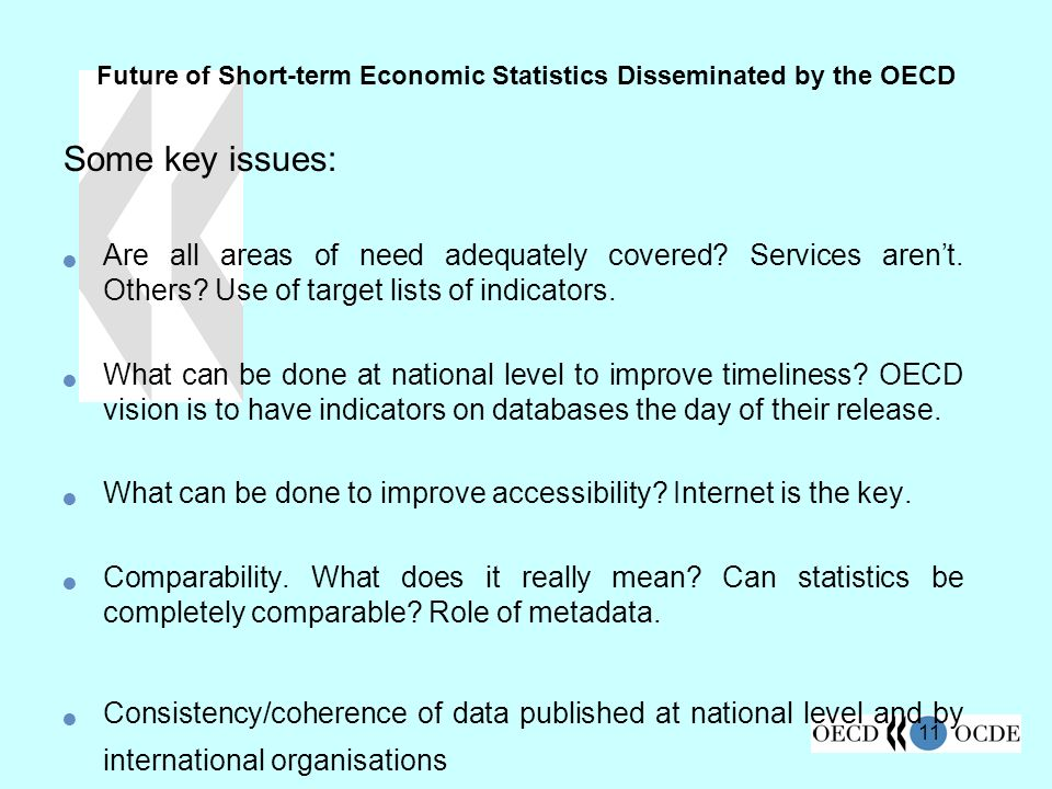 11 Future of Short-term Economic Statistics Disseminated by the OECD Some key issues: Are all areas of need adequately covered.
