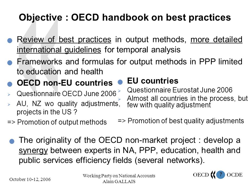 7 October 10-12, 2006 Working Party on National Accounts Alain GALLAIS Objective : OECD handbook on best practices OECD non-EU countries Questionnaire OECD June 2006 AU, NZ wo quality adjustments, projects in the US .