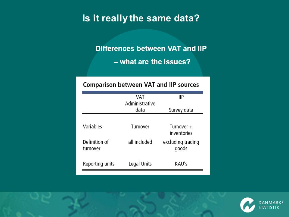 Differences between VAT and IIP – what are the issues? Is it really the same data?
