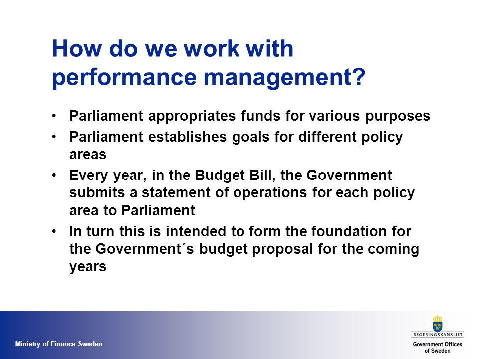 Ministry of Finance Sweden How do we work with performance management.