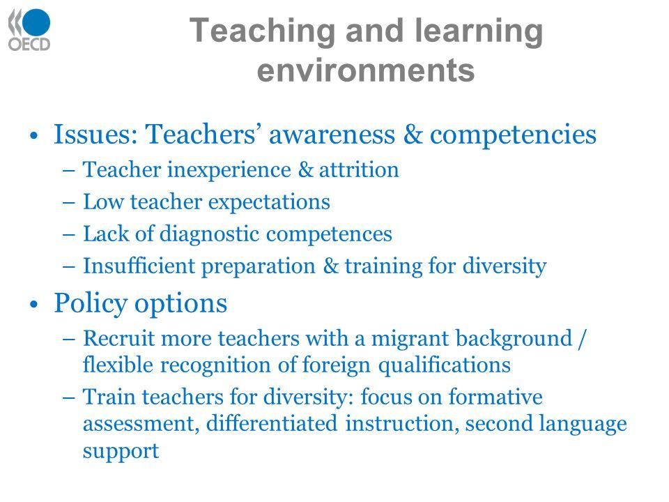Issues: Teachers awareness & competencies –Teacher inexperience & attrition –Low teacher expectations –Lack of diagnostic competences –Insufficient pr