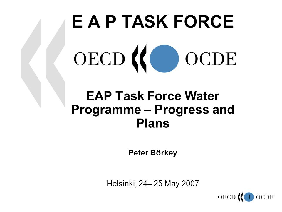 1 E A P TASK FORCE EAP Task Force Water Programme – Progress and Plans Peter Börkey Helsinki, 24– 25 May 2007