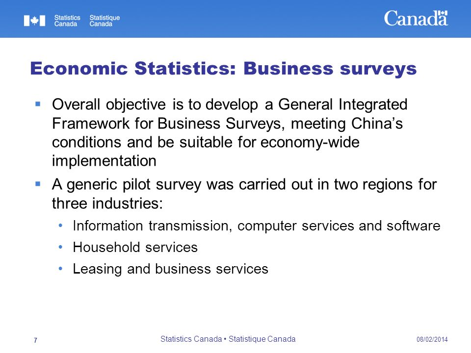 08/02/2014 Statistics Canada Statistique Canada 8 Economic Statistics: Business surveys Work is underway to expand the pilot surveys for two additional regions and five industries: Road and water transportation Wholesale and retail trade Real estate Entertainment Social Welfare