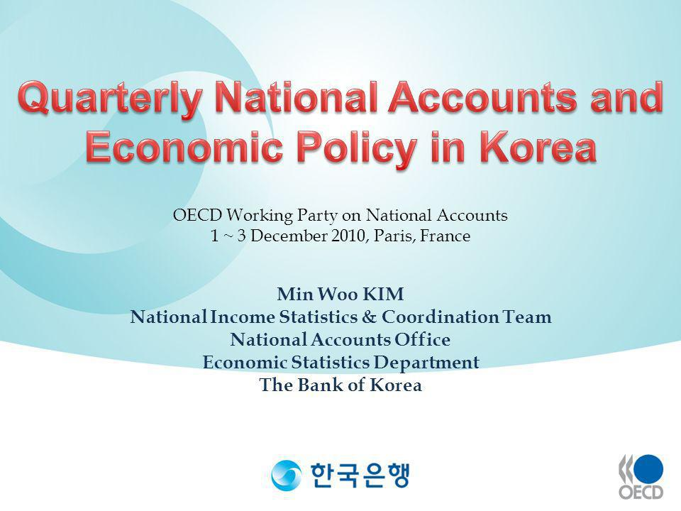 Min Woo KIM National Income Statistics & Coordination Team National Accounts Office Economic Statistics Department The Bank of Korea OECD Working Part