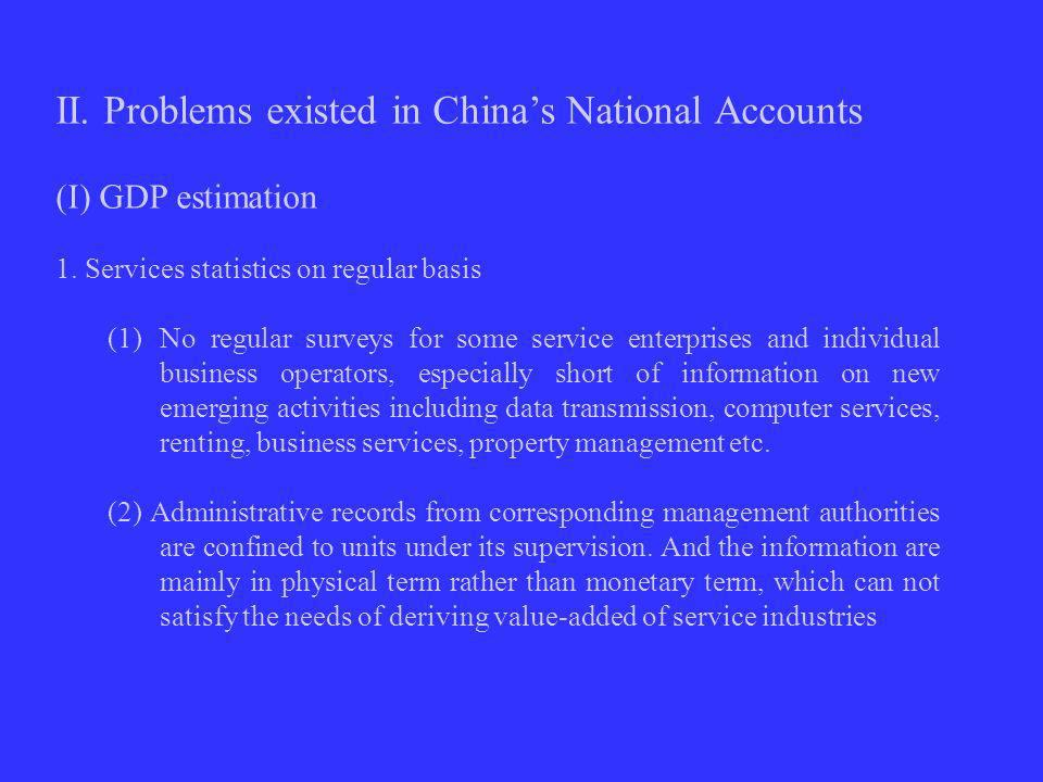 II. Problems existed in Chinas National Accounts (I) GDP estimation 1.