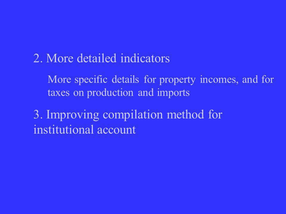 2. More detailed indicators More specific details for property incomes, and for taxes on production and imports 3. Improving compilation method for in