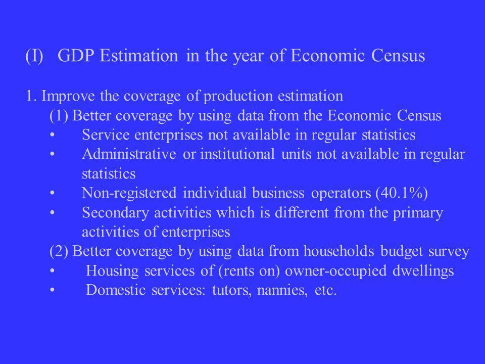 (I)GDP Estimation in the year of Economic Census 1.