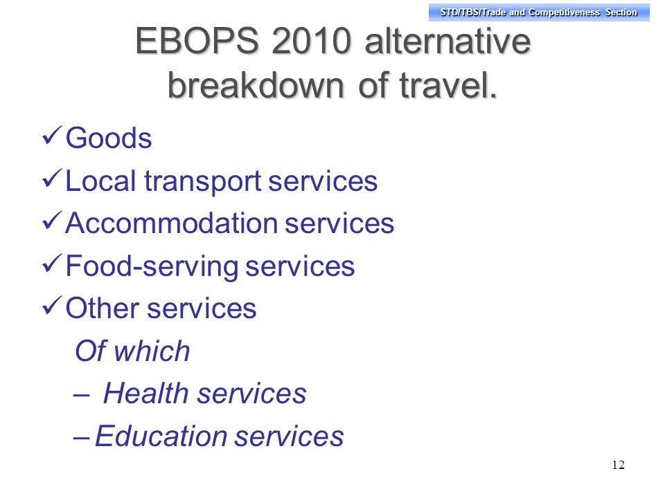 STD/TBS/Trade and Competitiveness Section EBOPS 2010 alternative breakdown of travel.