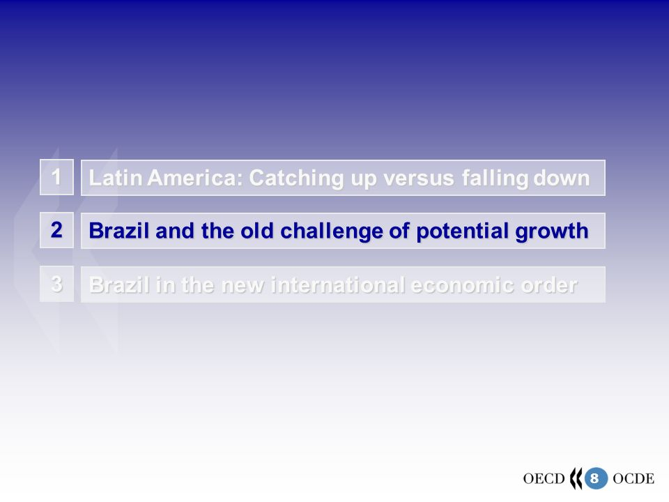 8 1 Latin America: Catching up versus falling down Brazil and the old challenge of potential growth 2 Brazil in the new international economic order 3