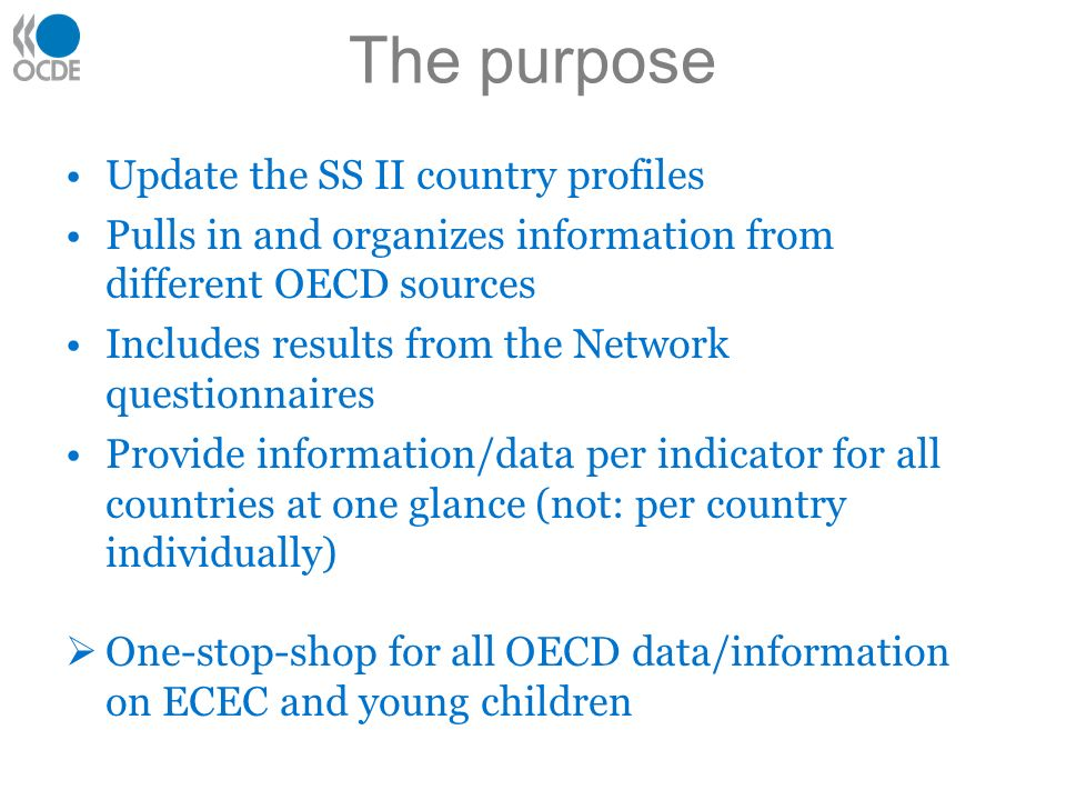 The purpose Update the SS II country profiles Pulls in and organizes information from different OECD sources Includes results from the Network questionnaires Provide information/data per indicator for all countries at one glance (not: per country individually) One-stop-shop for all OECD data/information on ECEC and young children