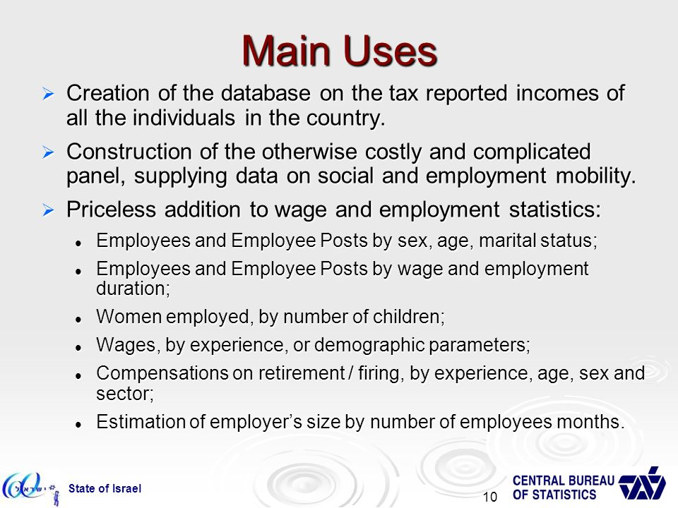 State of Israel 10 Main Uses Creation of the database on the tax reported incomes of all the individuals in the country.