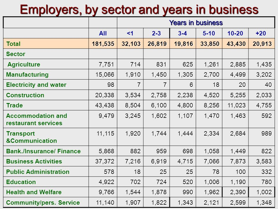 Employers, by sector and years in business Years in business All<12-33-45-1010-20+ 20 Total181,53532,103 26,819 26,819 19,816 19,816 33,850 33,850 43,430 43,430 20,913 20,913 Sector Agriculture 7,751 7,751 714 714 831 831 625 625 1,261 1,261 2,885 2,885 1,435 1,435 Manufacturing 15,066 15,066 1,910 1,910 1,450 1,450 1,305 1,305 2,700 2,700 4,499 4,499 3,202 3,202 Electricity and water 98 98 7 7 6 18 18 20 20 40 40 Construction 20,338 20,338 3,534 3,534 2,758 2,758 2,238 2,238 4,520 4,520 5,255 5,255 2,033 2,033 Trade 43,438 43,438 8,504 8,504 6,100 6,100 4,800 4,800 8,256 8,256 11,023 11,023 4,755 4,755 Accommodation and restaurant services 9,479 9,479 3,245 3,245 1,602 1,602 1,107 1,107 1,470 1,470 1,463 1,463 592 592 Transport &Communication 11,115 11,115 1,920 1,920 1,744 1,744 1,444 1,444 2,334 2,334 2,684 2,684 989 989 Bank./Insurance/ Finance 5,868 5,868 882 882 959 959 698 698 1,058 1,058 1,449 1,449 822 822 Business Activities 37,372 37,372 7,216 7,216 6,919 6,919 4,715 4,715 7,066 7,066 7,873 7,873 3,583 3,583 Public Administration 578 578 18 18 25 25 78 78 100 100 332 332 Education 4,922 4,922 702 702 724 724 520 520 1,006 1,006 1,190 1,190 780 780 Health and Welfare 9,766 9,766 1,544 1,544 1,878 1,878 990 990 1,962 1,962 2,390 2,390 1,002 1,002 Community/pers.