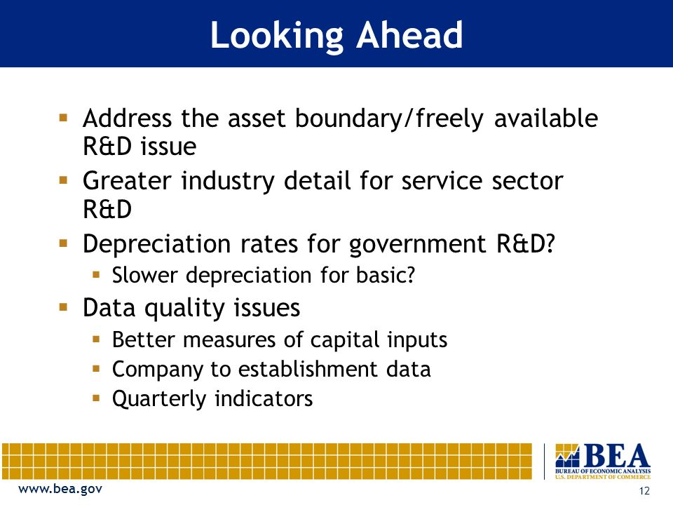 12 Looking Ahead Address the asset boundary/freely available R&D issue Greater industry detail for service sector R&D Depreciation rates for government R&D.
