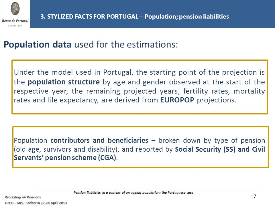 Pension liabilities in a context of an ageing population: the Portuguese case Workshop on Pensions OECD - ABS, Canberra 22-24 April 2013 Population data used for the estimations: Under the model used in Portugal, the starting point of the projection is the population structure by age and gender observed at the start of the respective year, the remaining projected years, fertility rates, mortality rates and life expectancy, are derived from EUROPOP projections.