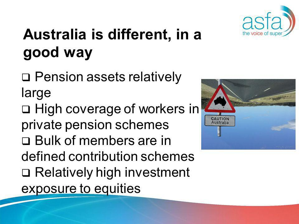 Australia is different, in a good way Pension assets relatively large High coverage of workers in private pension schemes Bulk of members are in defined contribution schemes Relatively high investment exposure to equities