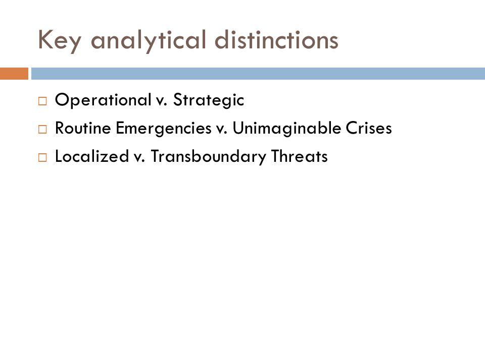 Key analytical distinctions Operational v. Strategic Routine Emergencies v. Unimaginable Crises Localized v. Transboundary Threats