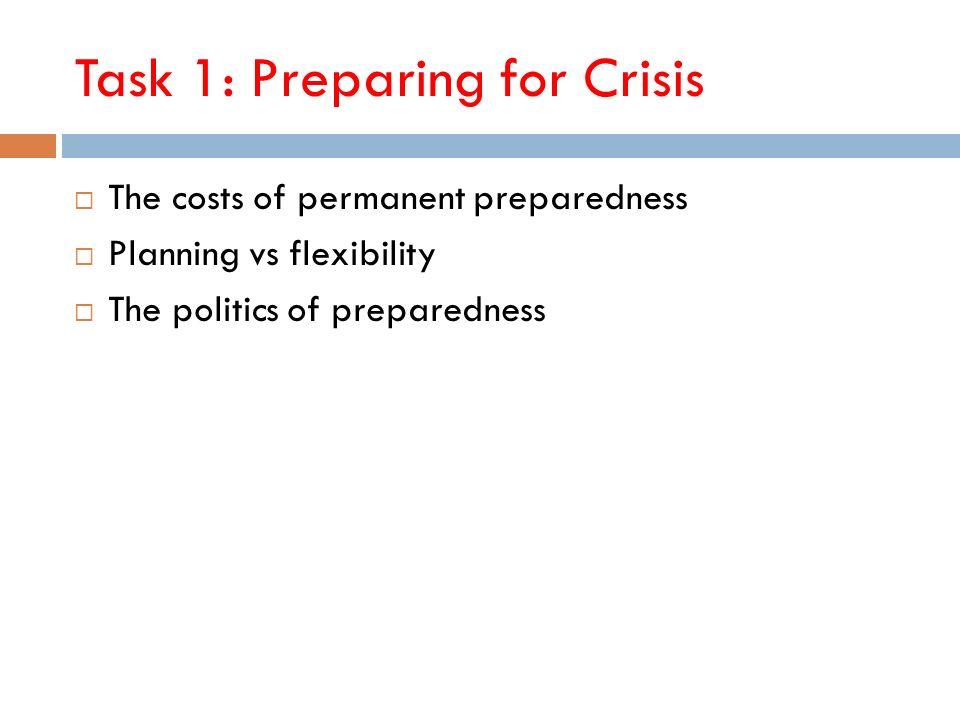 Task 1: Preparing for Crisis The costs of permanent preparedness Planning vs flexibility The politics of preparedness