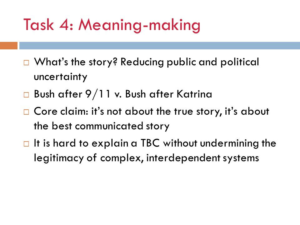 Task 4: Meaning-making Whats the story.